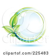 3d Blue Shiny Sphere With White Blue And Green Lines And Dewy Leaves