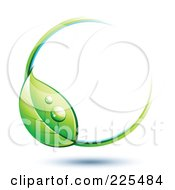 Royalty Free RF Clipart Illustration Of A 3d White Circle With White Blue And Green Lines And A Dewy Leaf by beboy #COLLC225484-0058