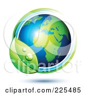 Royalty Free RF Clipart Illustration Of A 3d Shiny Green And Blue African Globe Circled With Blue And Green Lines And A Dewy Leaf