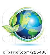 Royalty Free RF Clipart Illustration Of A 3d Shiny Green And Blue American Globe Circled With Blue And Green Lines And Dewy Leaves