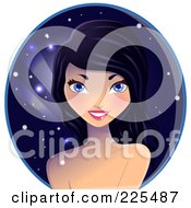 Royalty Free RF Clipart Illustration Of A Beautiful Black Haired Woman Over A Night Time Circle