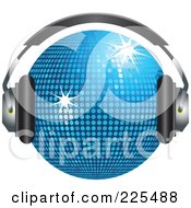 Royalty Free RF Clipart Illustration Of A 3d Blue Disco Ball Wearing Headphones