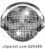Royalty Free RF Clipart Illustration Of A 3d Silver Disco Ball Wearing Headphones