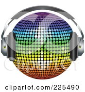 Royalty Free RF Clipart Illustration Of A 3d Rainbow Colored Disco Ball Wearing Headphones