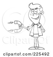 Royalty Free RF Clipart Illustration Of A Coloring Page Outline Of A Young Man Holding A Strong Magnet