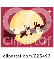 Royalty Free RF Clipart Illustration Of A Silhouette Of Santa And Magic Reindeer In Front Of A Full Moon In A Red Sky by Hit Toon