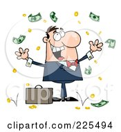 Royalty Free RF Clipart Illustration Of A Successful Caucasian Businessman Standing Under Falling Money