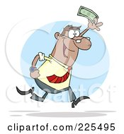 Happy Black Businessman Running And Holding Up Cash