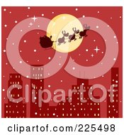 Royalty Free RF Clipart Illustration Of A Silhouette Of Santa And Magic Reindeer In Front Of A Full Moon Over A Red City by Hit Toon