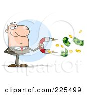 Royalty Free RF Clipart Illustration Of A White Businessman Collecting Cash With A Money Magnet by Hit Toon