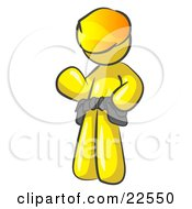 Clipart Illustration Of A Friendly Yellow Construction Worker Or Handyman Wearing A Hardhat And Tool Belt And Waving by Leo Blanchette