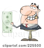 Royalty Free RF Clipart Illustration Of A Caucasian Businessman Smoking A Cigar And Holding Cash