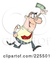 Happy Caucasian Businessman Running And Holding Up Cash