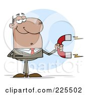 Royalty Free RF Clipart Illustration Of A Black Businessman Holding A Strong Magnet by Hit Toon