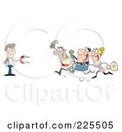Royalty Free RF Clipart Illustration Of People Running Towards A Caucasian Man With A Money Magnet by Hit Toon