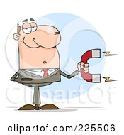 Royalty Free RF Clipart Illustration Of A White Businessman Holding A Strong Magnet by Hit Toon