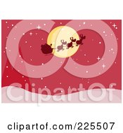 Royalty Free RF Clipart Illustration Of A Silhouette Of Santa And Flying Reindeer In Front Of A Full Moon Over A Red Snowy Landscape by Hit Toon
