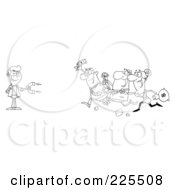 Royalty Free RF Clipart Illustration Of A Coloring Page Outline Of People Running Towards A Man With A Money Magnet