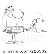 Royalty Free RF Clipart Illustration Of A Coloring Page Outline Of A Businessman Holding A Strong Magnet by Hit Toon