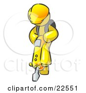 Clipart Illustration Of A Yellow Construction Worker Man Wearing A Hardhat And Operating A Yellow Jackhammer While Doing Road Work by Leo Blanchette