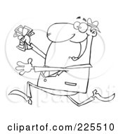 Royalty Free RF Clipart Illustration Of A Coloring Page Outline Of A Happy Businessman Running With Cash In Hand