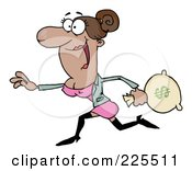 Royalty Free RF Clipart Illustration Of A Happy Hispanic Woman Running With A Money Bag