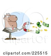 Royalty Free RF Clipart Illustration Of A African American Businessman Collecting Cash With A Money Magnet by Hit Toon