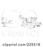 Royalty Free RF Clipart Illustration Of A Coloring Page Outline Of People Running Towards A Businessman With A Money Magnet