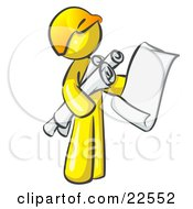 Yellow Man Contractor Or Architect Holding Rolled Blueprints And Designs And Wearing A Hardhat