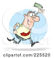 Happy White Businessman Running And Holding Up Cash