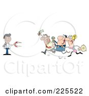 Royalty Free RF Clipart Illustration Of People Running Towards A Hispanic Man With A Money Magnet by Hit Toon