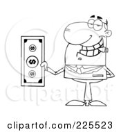 Royalty Free RF Clipart Illustration Of A Coloring Page Outline Of A Businessman Smoking A Cigar And Holding Cash