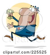Royalty Free RF Clipart Illustration Of A Happy African American Businessman Running With Cash In Hand