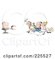 Royalty Free RF Clipart Illustration Of People Running Towards A Caucasian Businessman With A Money Magnet by Hit Toon