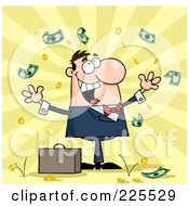 Royalty Free RF Clipart Illustration Of A Successful White Businessman Standing Under Falling Money