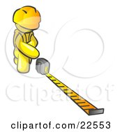 Clipart Illustration Of A Yellow Man Contractor Wearing A Hardhat Kneeling And Measuring by Leo Blanchette