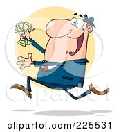 Royalty Free RF Clipart Illustration Of A Happy White Businessman Running With Cash In Hand