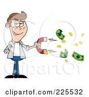 Royalty Free RF Clipart Illustration Of A Caucasian Man Collecting Cash With A Money Magnet by Hit Toon