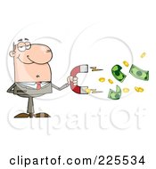 Royalty Free RF Clipart Illustration Of A Caucasian Businessman Collecting Cash With A Money Magnet by Hit Toon