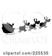 Royalty Free RF Clipart Illustration Of A Black Silhouetted Of Magic Reindeer And Santas Sleigh by Hit Toon