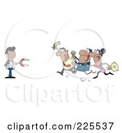 Royalty Free RF Clipart Illustration Of A Group Of Hispanic People Racing Towards A Hispanic Man With A Money Magnet