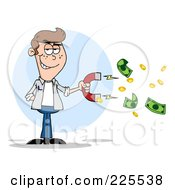 Royalty Free RF Clipart Illustration Of A White Man Collecting Cash With A Money Magnet by Hit Toon