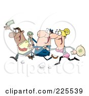 Royalty Free RF Clipart Illustration Of A Group Of Happy Consumers Running With Money In Hand