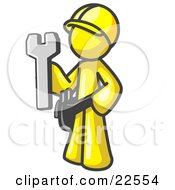 Proud Yellow Construction Worker Man In A Hardhat Holding A Wrench Clipart Illustration by Leo Blanchette