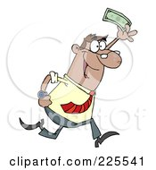 Royalty Free RF Clipart Illustration Of A Happy Hispanic Businessman Running And Holding Up Cash
