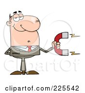 Royalty Free RF Clipart Illustration Of A Caucasian Businessman Holding A Strong Magnet by Hit Toon