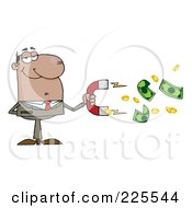 Royalty Free RF Clipart Illustration Of A Black Businessman Collecting Cash With A Money Magnet