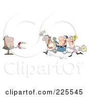 Royalty Free RF Clipart Illustration Of People Running Towards A Black Businessman With A Money Magnet