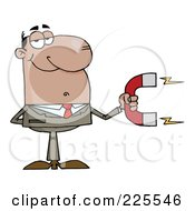 Royalty Free RF Clipart Illustration Of A Hispanic Businessman Holding A Strong Magnet