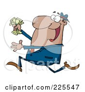 Royalty Free RF Clipart Illustration Of A Happy Hispanic Businessman Running With Cash In Hand